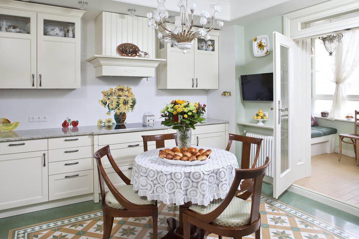 белая кухня кантри фото