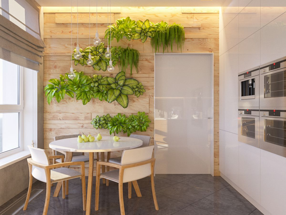 белая кухня с растениями