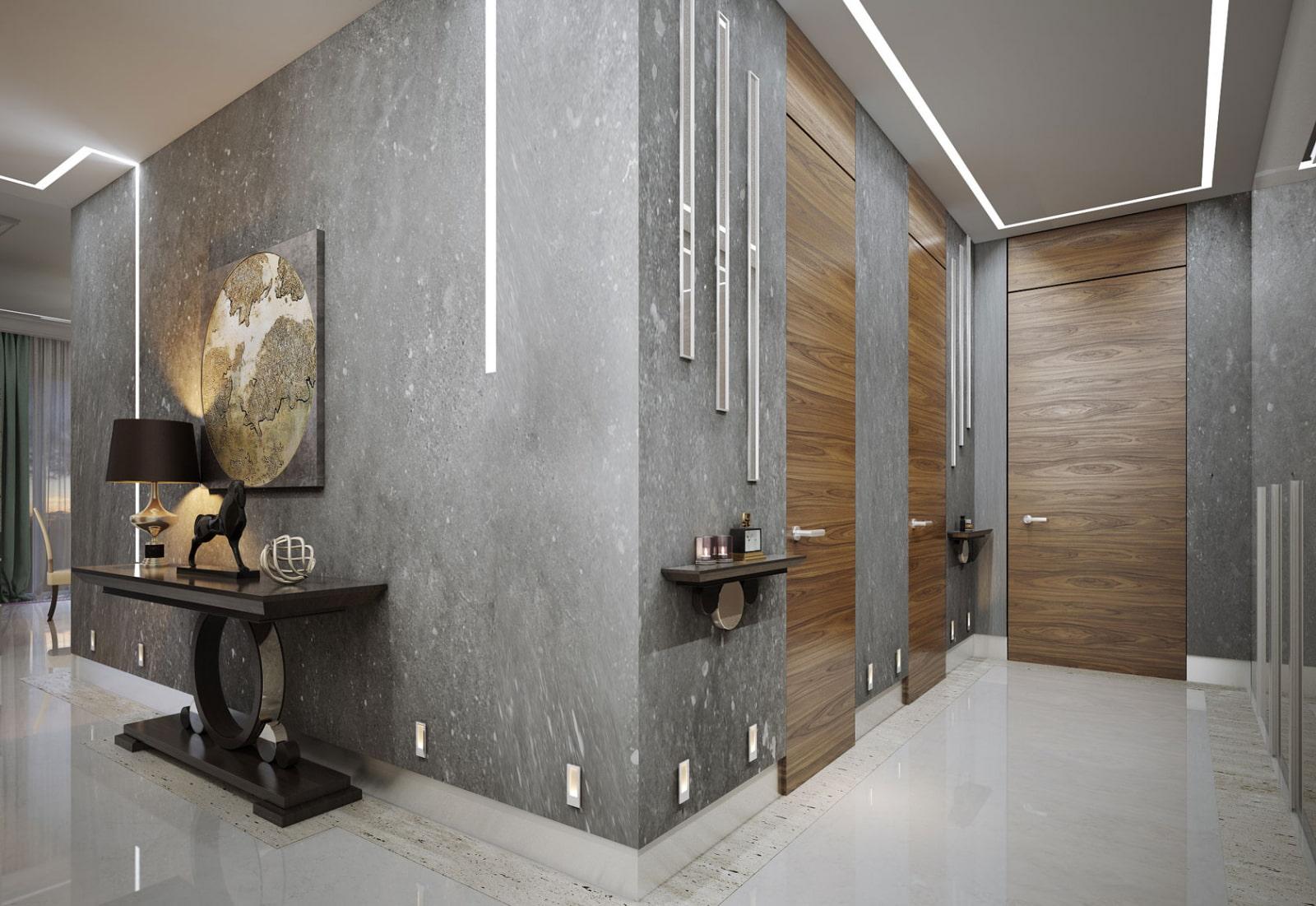 декоративная штукатурка в коридоре современный стиль
