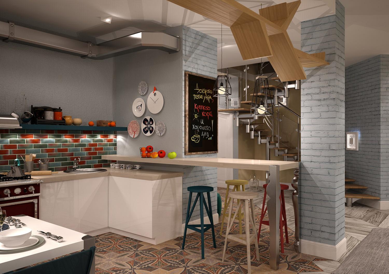 кухня в стиле кафе дизайн