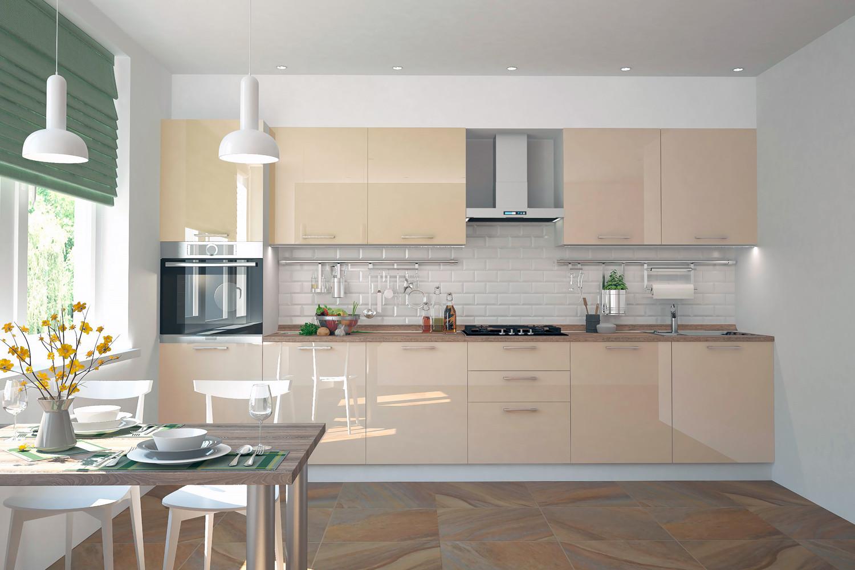 кухня ванильного цвета глянцевая