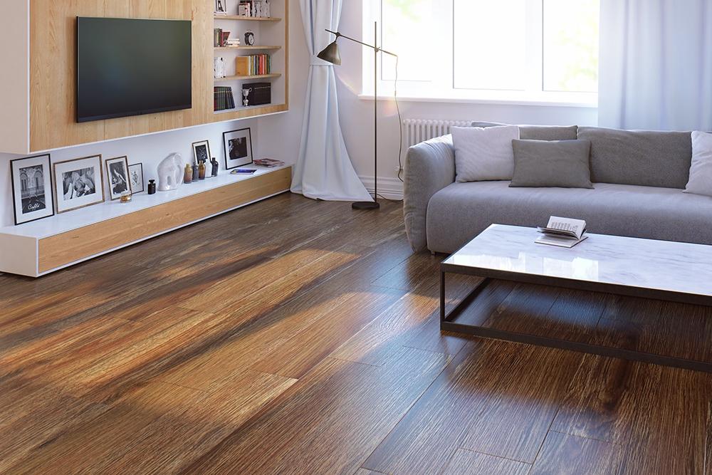 кварц-виниловая плитка в интерьере гостиной