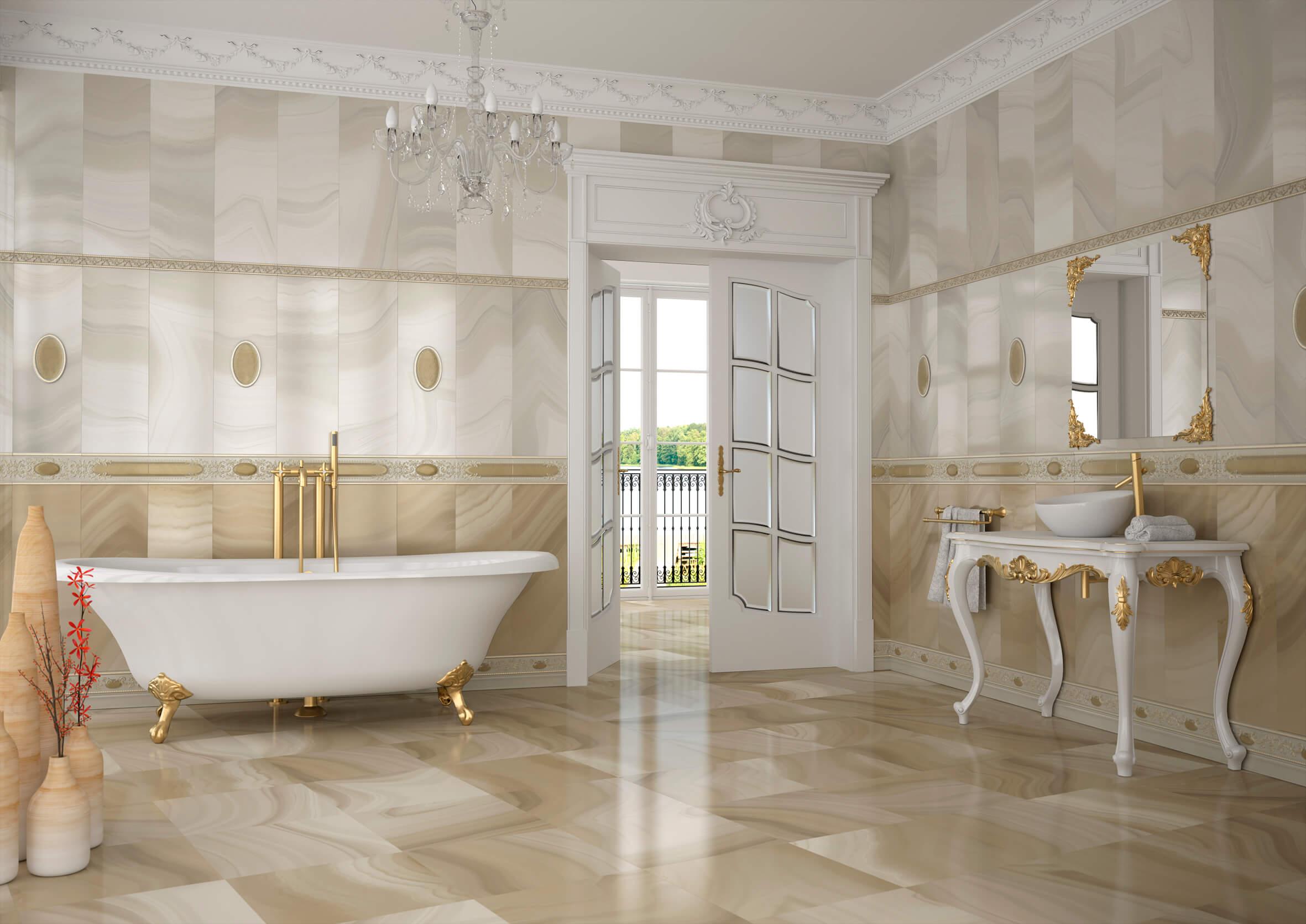 напольная плитка для ванной глянцевая