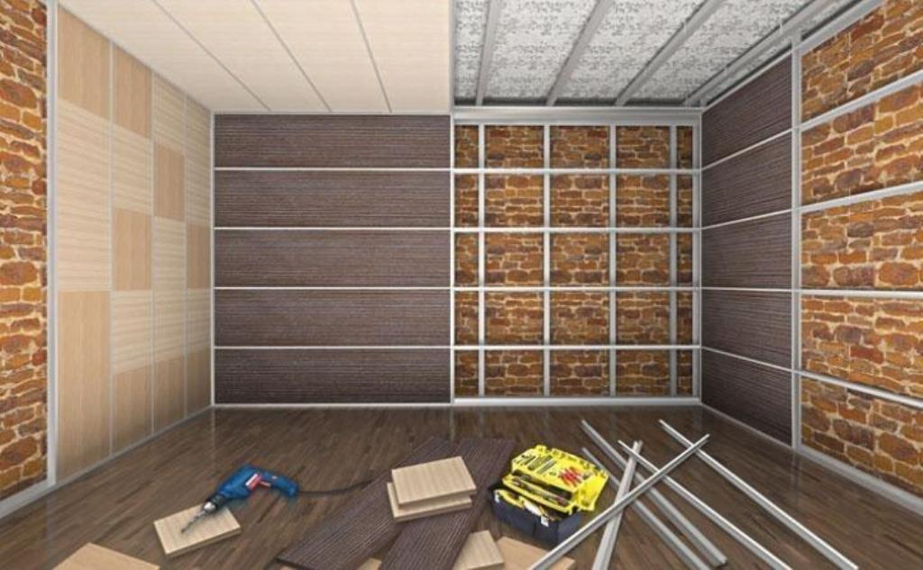 отделка стен панелями мдф на каркас