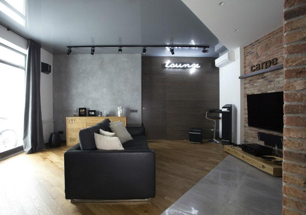 потолок стиль лофт натяжной фото