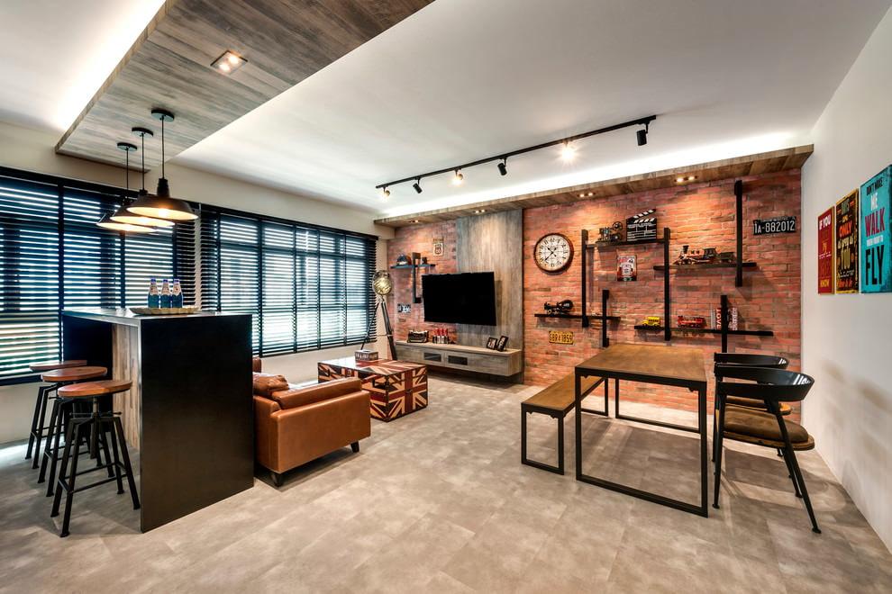 потолок в стиле лофт из гипсокартона