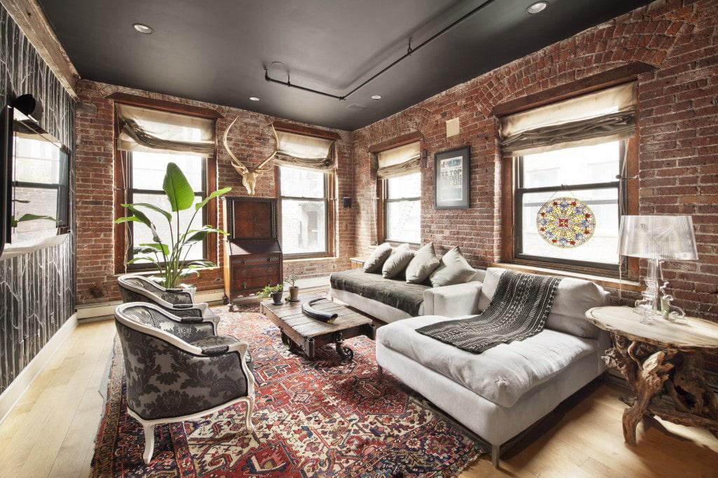 потолок в стиле лофт натяжной серый