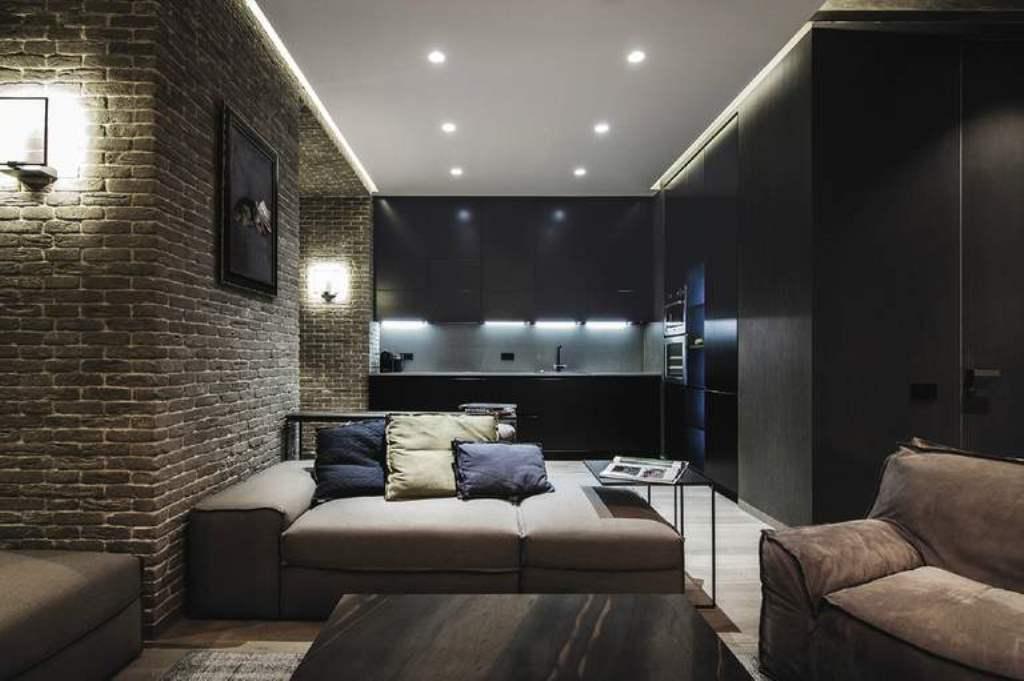 потолок в стиле лофт натяжной