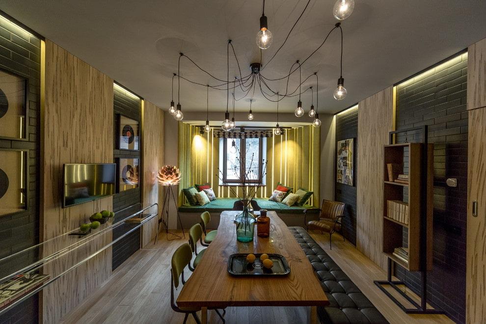 потолок в стиле лофт освещение