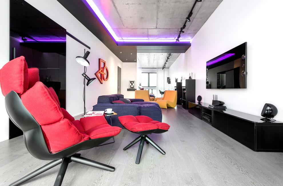 потолок в стиле лофт с подсветкой фото