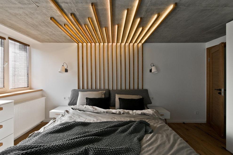 потолок в стиле лофт с подсветкой