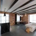 потолок в стиле лофт в квартире фото оформления