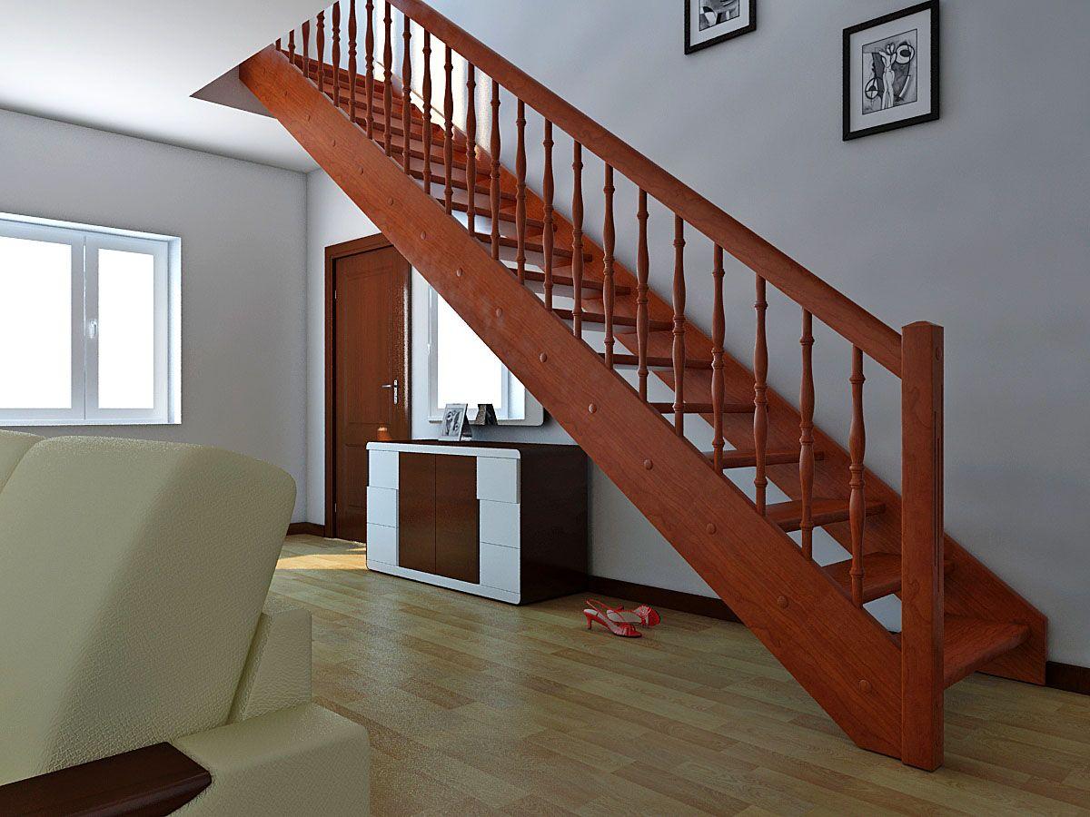 прямая лестница на второй этаж в частном доме