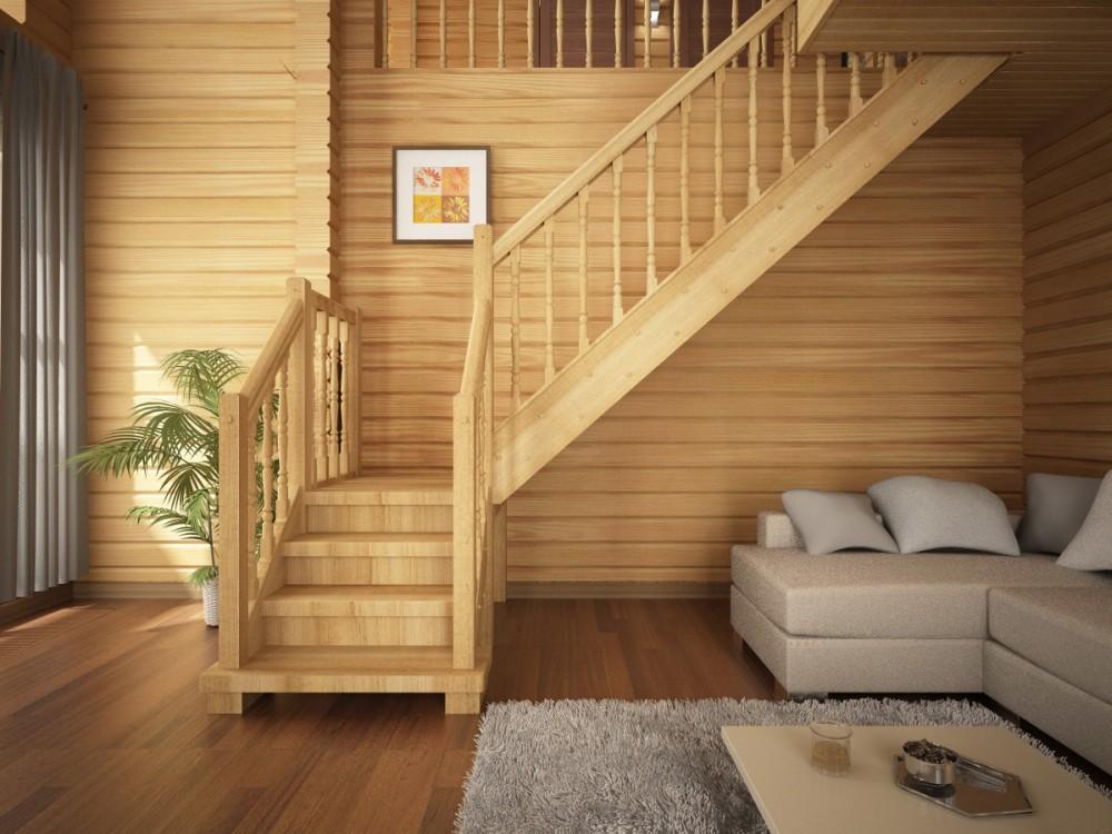 угловая лестница на второй этаж в частном доме