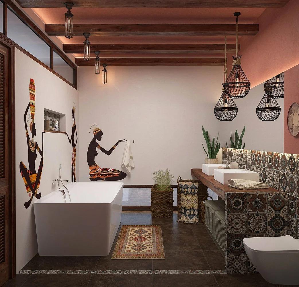 аксессуары в ванной этнический стиль