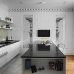 белая кухня с чёрной столешницей декор фото