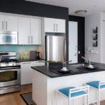 белая кухня с чёрной столешницей фото вариантов