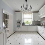 белая кухня с чёрной столешницей фото видов
