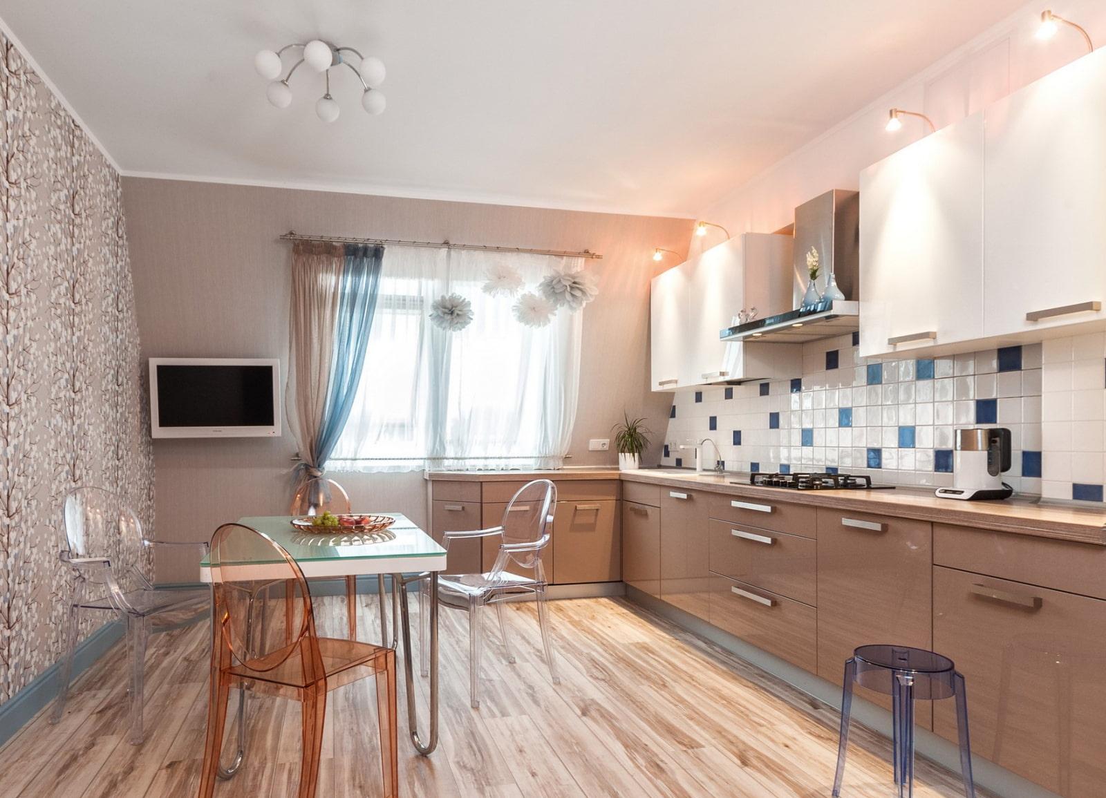 пастельный синий цвет стен на кухне