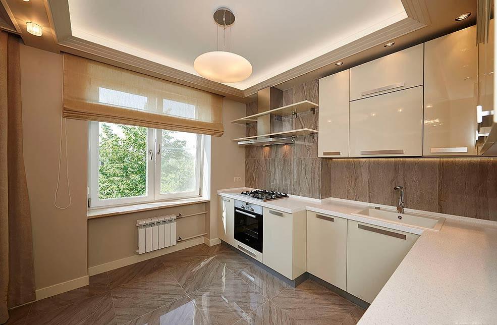 бежевый цвет стен на кухне