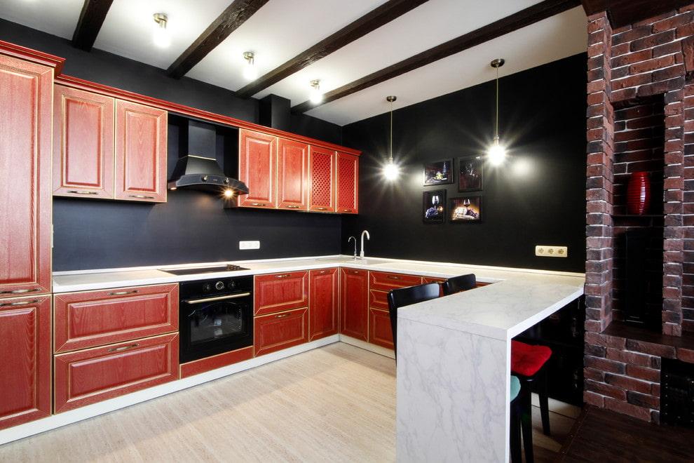 тёмный цвет стен на кухне
