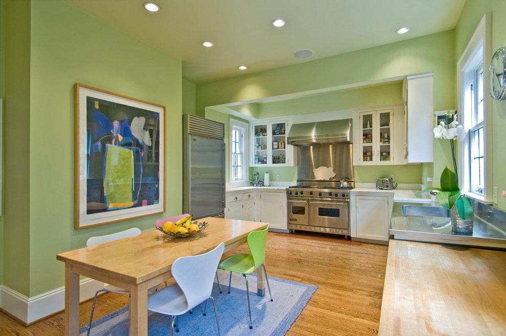 салатовый цвет стен на кухне