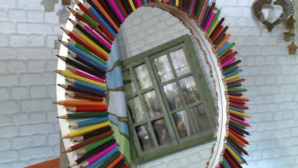 декор зеркала карандашами