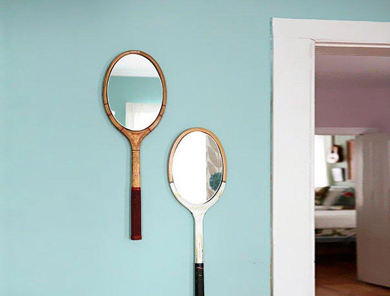 декор зеркала ракеткой