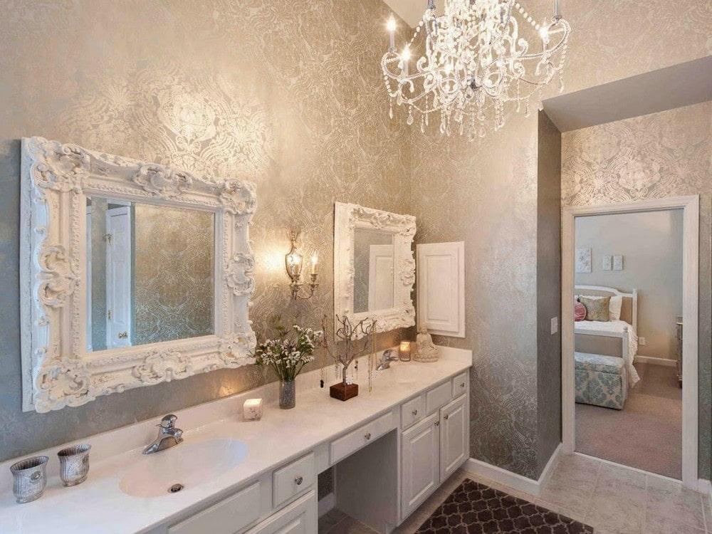 декор зеркала в ванной дизайн