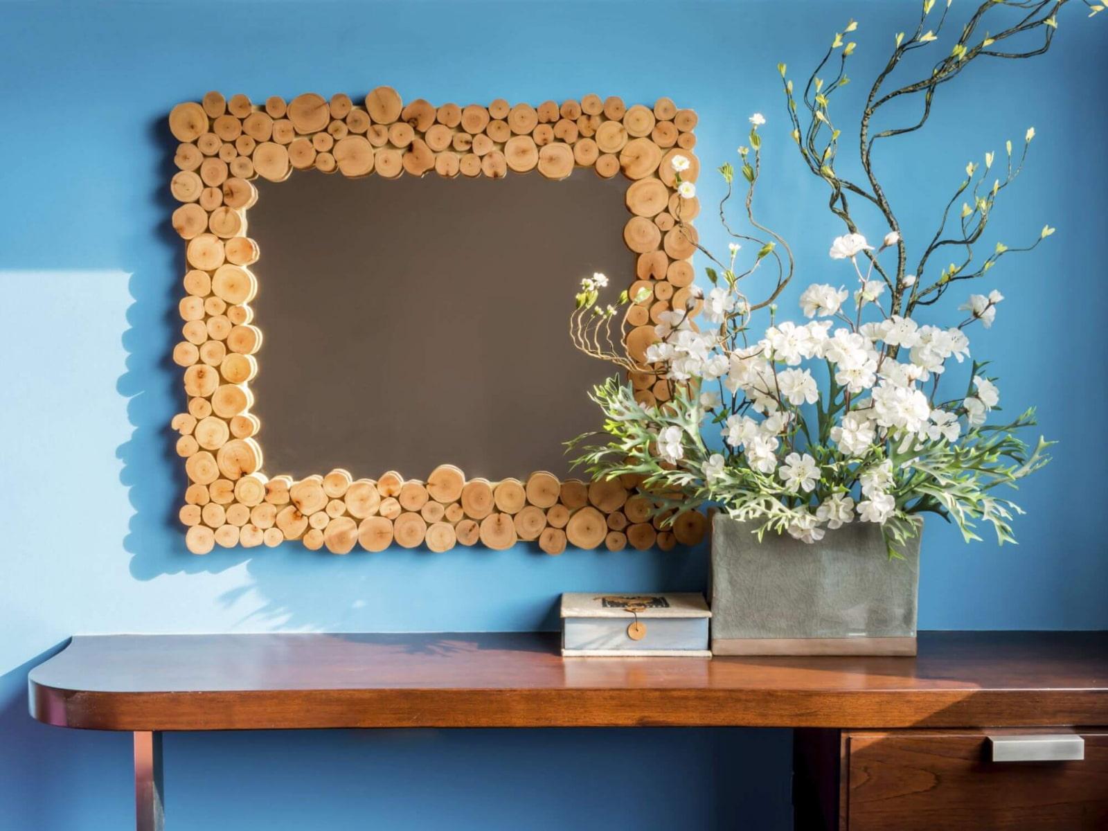 декор зеркала в ванной идеи