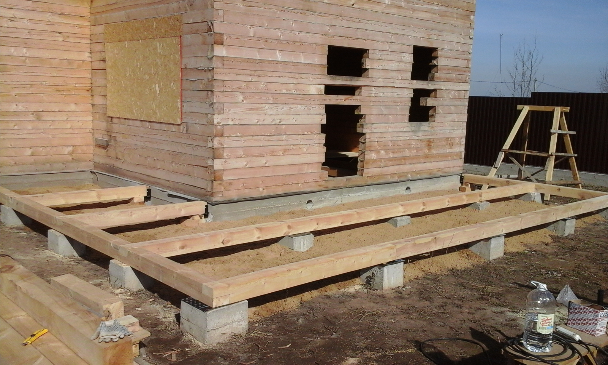фундамент для веранды из дерева