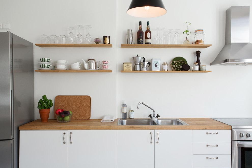 настенные полки на кухне