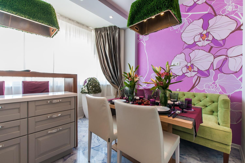 сиреневый цвет стен на кухне