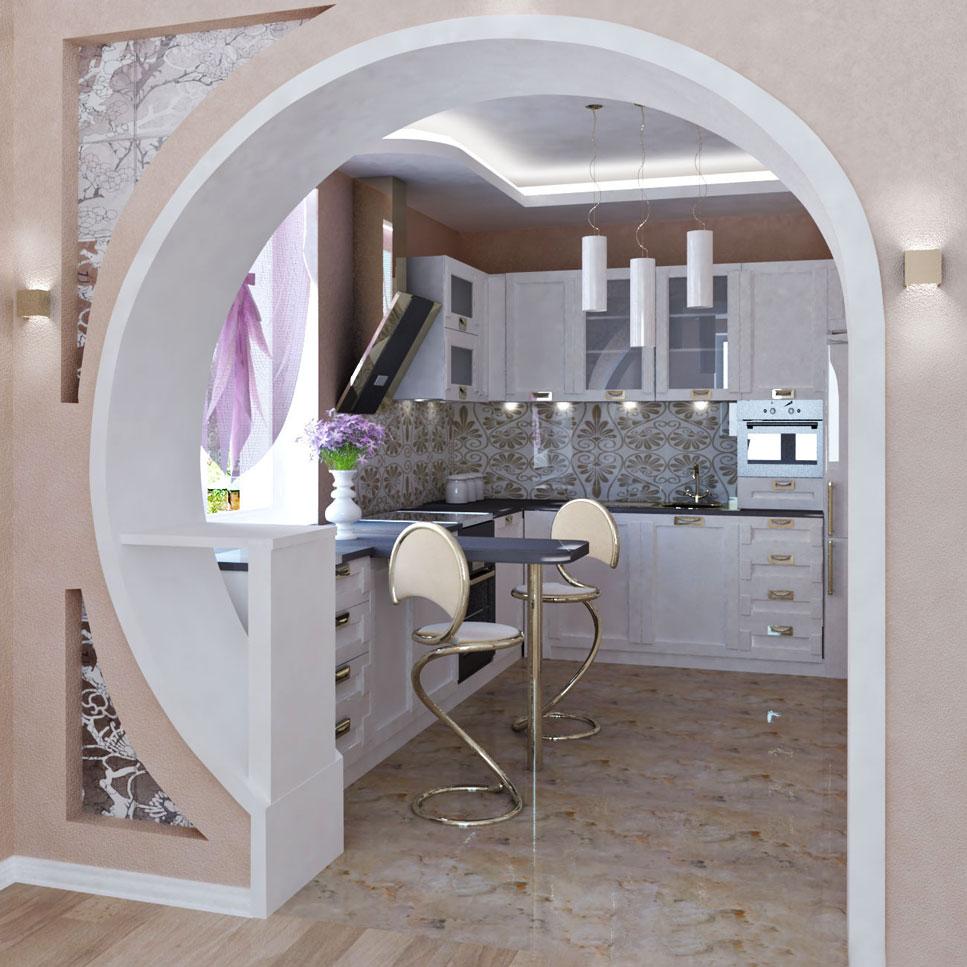 арки между кухней и залом фото появилась свет