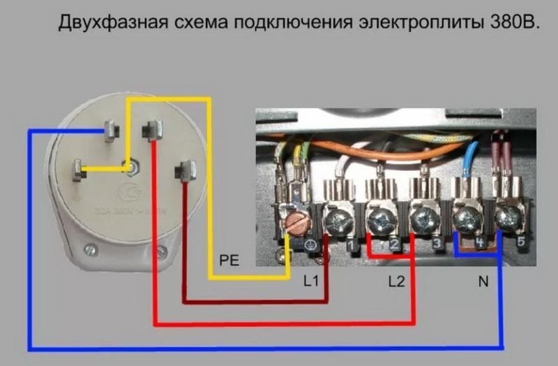 подключение электроплиты двухфазное