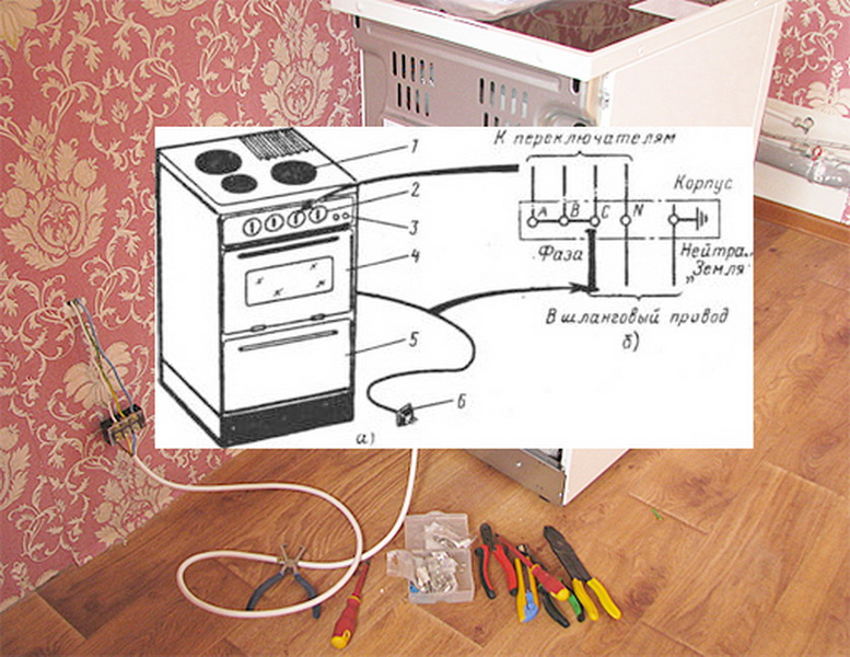 подключение электроплиты схема