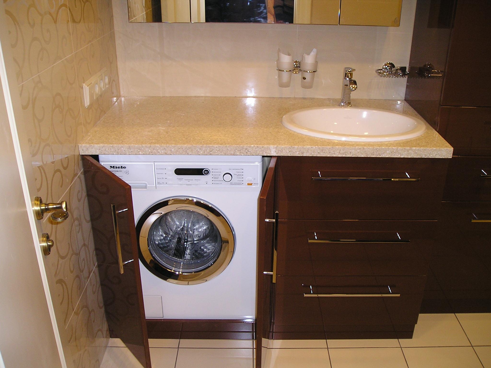 раковина над стиральной машиной со столешницей