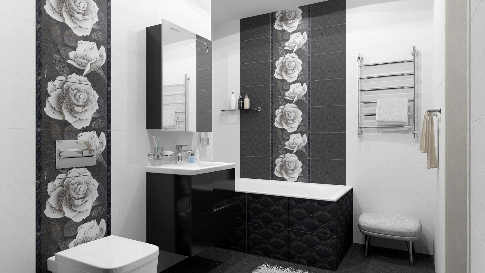 серо белая ванная комната