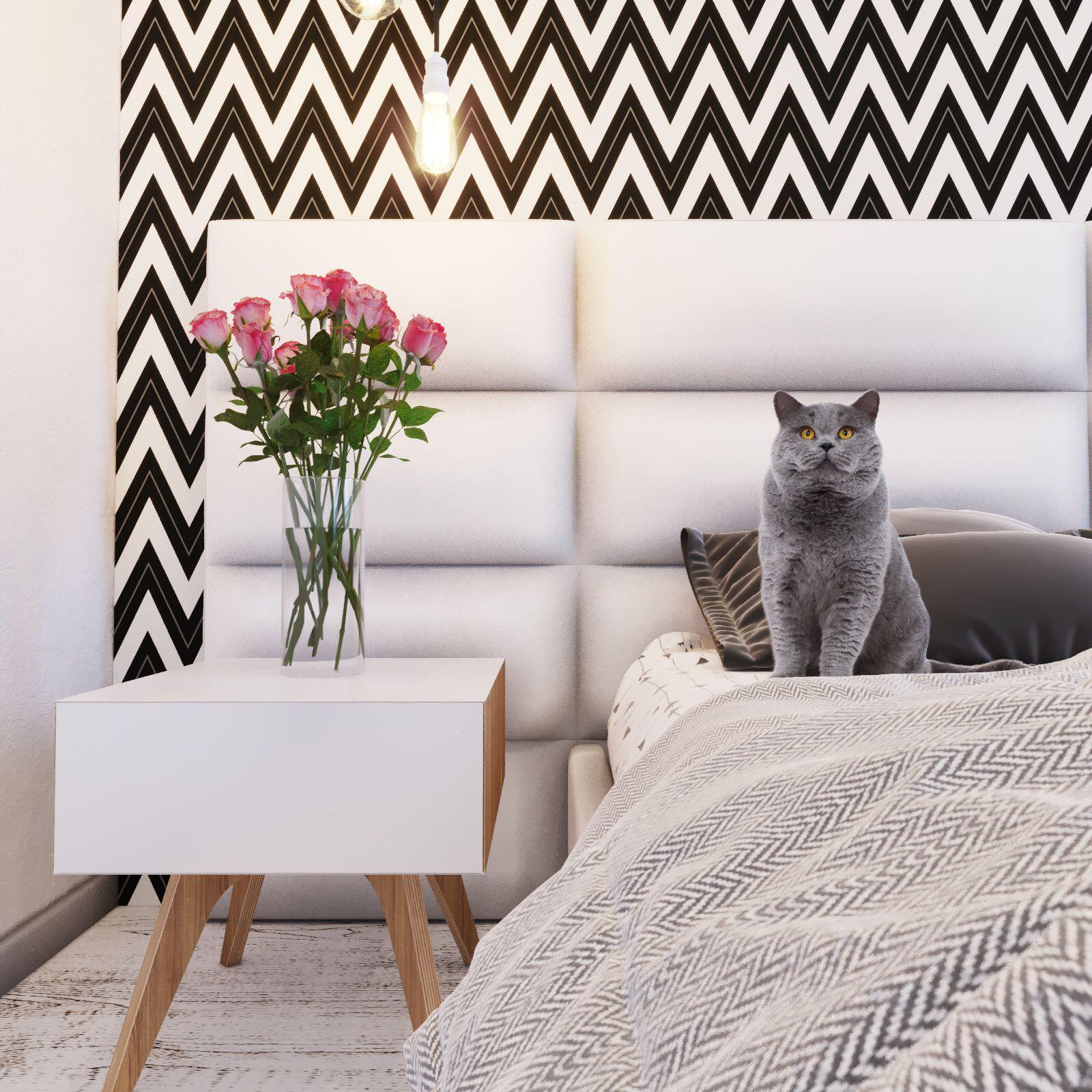 спальня в скандинавском стиле с геометрическими принтами