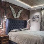 спальня в стиле лофт оформление