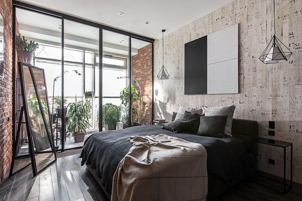 спальня в стиле лофт дизайн фото