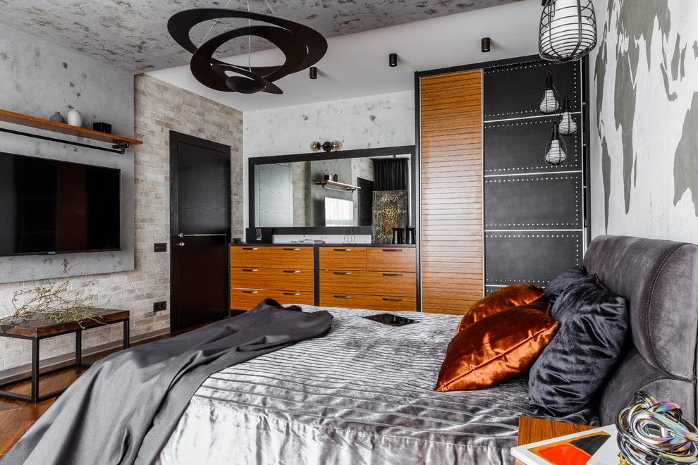 спальня в стиле лофт мебель