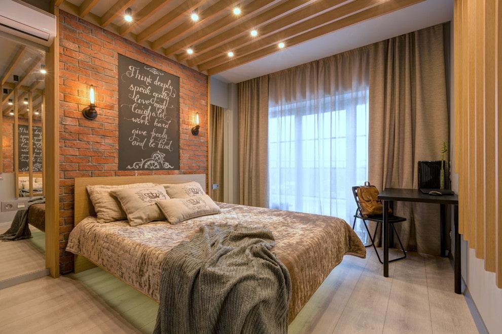 спальня в стиле лофт освещение