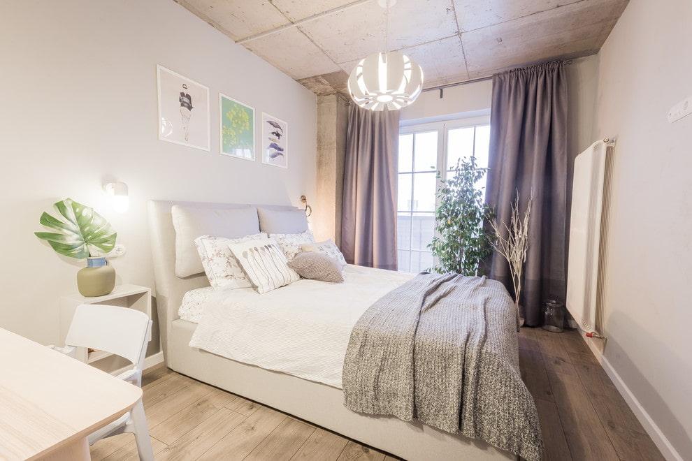 спальня в стиле лофт светлая