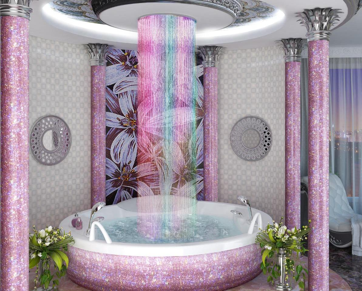тропический душ с подсветкой фото