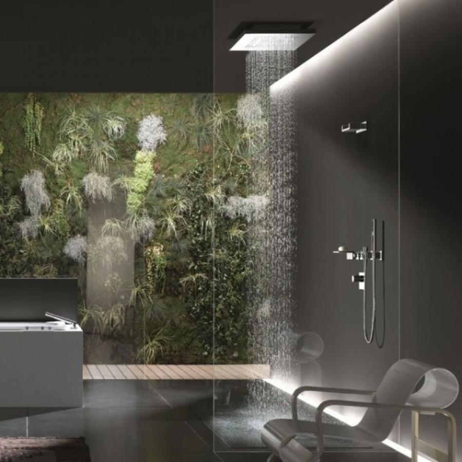тропический душ в ванной с фотообоями