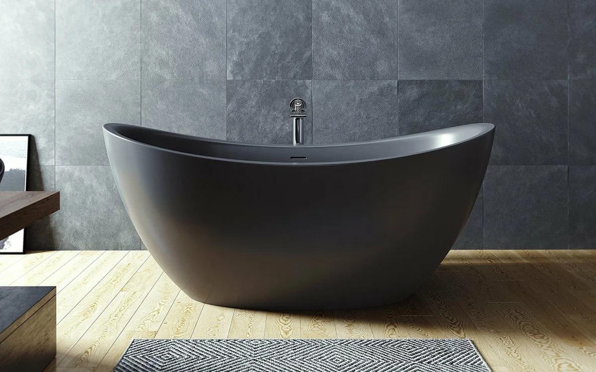 ванна из литьевого мрамора чёрная