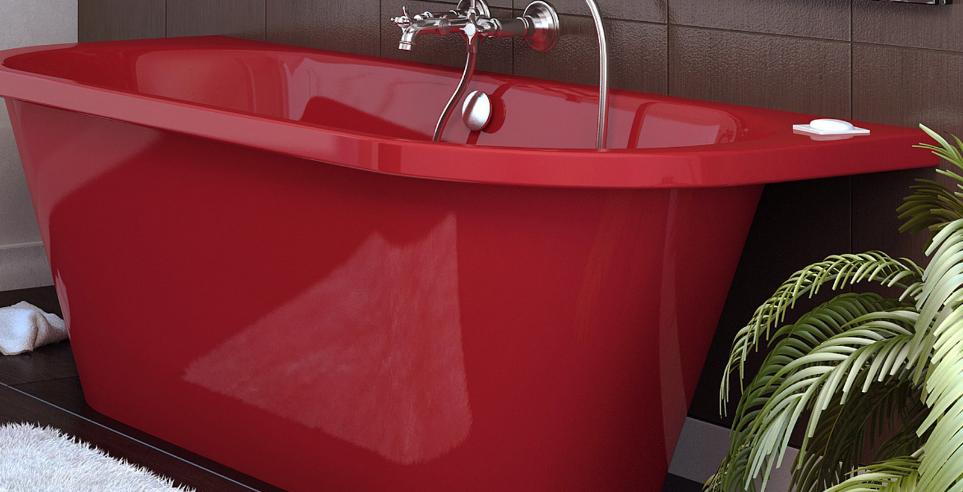ванна из литьевого мрамора красная