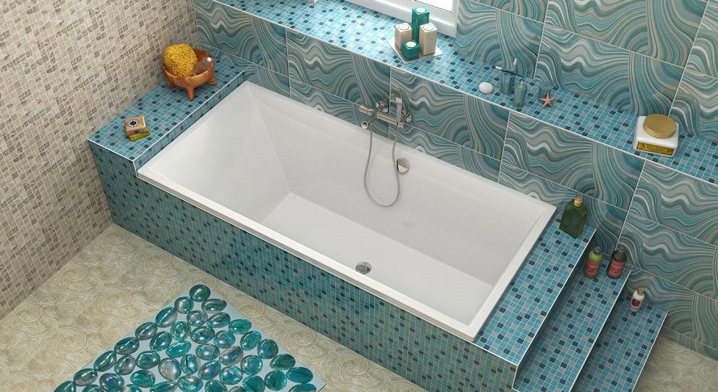 ванна из литьевого мрамора прямоугольная