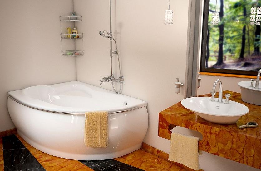 ванна из литьевого мрамора угловая